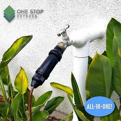Drip Irrigation Faucet Adapter Connector Kit Connect 1/4 Inch Tubing 3/4  Hose • 15.91£