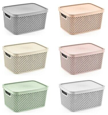 £9.99 • Buy Small Large Plastic Storage Box With Lid Basket Container Kitchen Home Office