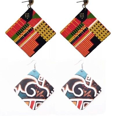 £2.29 • Buy Large Tribal African Abstract Wooden Square Stud Earrings (5cm) - 2 DESIGNS