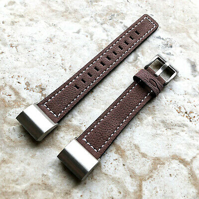 AU46.38 • Buy Brown Color Soft Leather Band Strap With White Stitches For Fitbit Charge 2
