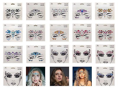 Face Gems Adhesive Glitter Jewel Tattoo Body Makeup Party Pride Festival Wedding • 2.37£