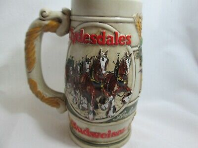 $ CDN16.51 • Buy Budweiser Clydesdale's Delivery Wagon Promotional Ceramarte Stein Dome Side Mug