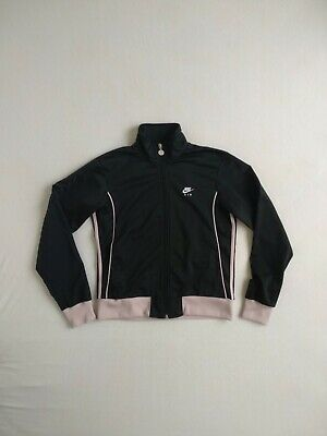 NIKE AIR Tracksuit Top - Polyester - Black With Pinkish Cuffs - Size L (Large) • 12.50£