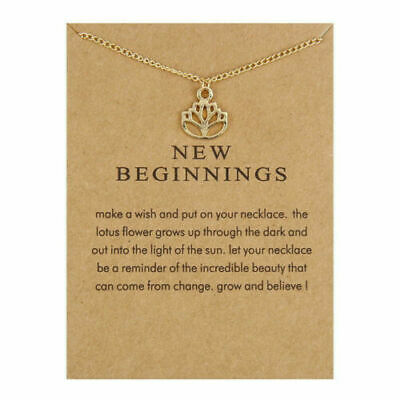 $ CDN13.79 • Buy Lotus Flower Carded Pendant Necklace Gold Dipped New Beginnings Dainty Clavicle