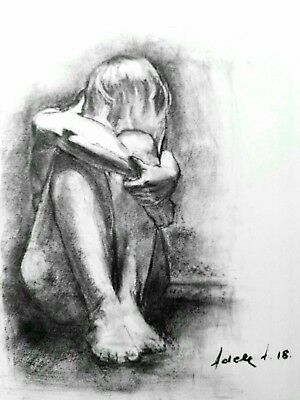 £92.15 • Buy Female Nude Charcoal Drawing On Paper Original Art A3