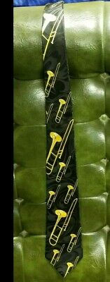 Steven Harris Black With Gold Trombones Tie • 14.99$