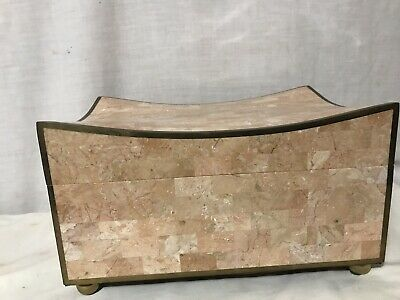$615 • Buy Maitland Smith Footed Tessellated Stone & Brass Wood Lined Humidor Storage Box