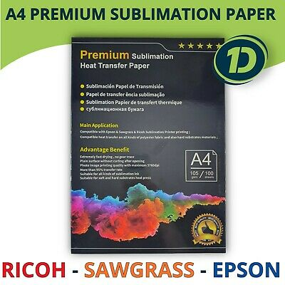 A4 Dye Premium Sublimation Paper For Ricoh Sawgrass Epson Printer Heat Transfer • 15.11£