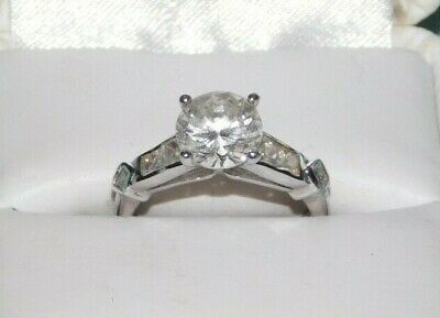 $30 • Buy Sterling Silver Solid Round Cut CZ Solitaire Engagement Ring 2 Carat Size 6.5