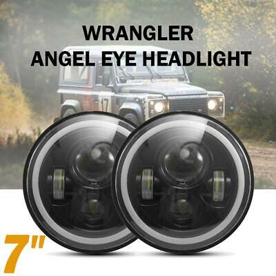 AU66.69 • Buy Pair 7 Inch Round LED Headlight DRL Light For Land Rover 90/110 Defender Jeep JK