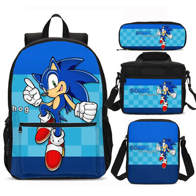 £9.99 • Buy The Hedgehog Sonic Kids Schoolbag Boys Backpack Insulated Lunch Bag Pen Bags LOT