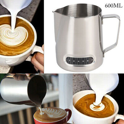 £7.99 • Buy 600ML Milk Jug Frothing Frother Coffee Latte Container Metal Pitcher Thermometer