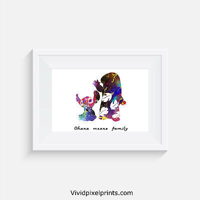 Lilo And Stitch, Print, Poster, Disney, Quote, Wall Art, Ohana Means Family • 4.14£