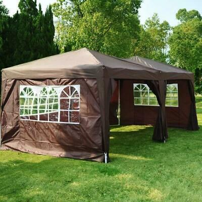 Brown Pop Up Gazebo 3x6 Waterproof Canopy Marquee Camping Tent Garden Portable • 195.99£