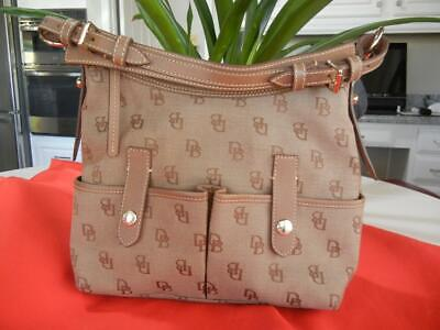 $45 • Buy Dooney & Bourke Tan Signature Canvas Lucy Bag Adjustable Strap Outside Pockets