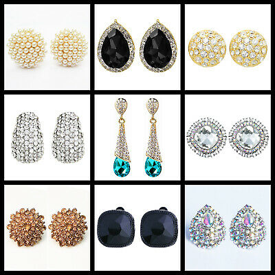 £3.99 • Buy Clip On / Non-Pierced Earrings Stud Crystal Silver Gold Black Red Blue Green
