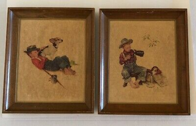 $ CDN25.21 • Buy Norman Rockwell Franklin Picture Prints A Boy & His Dog Wood Framed - Lot Of 2
