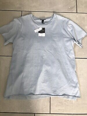 Topshop Light Blue T-shirt With Voile & Buckle Reverse Size 12 BNWT • 9.99£