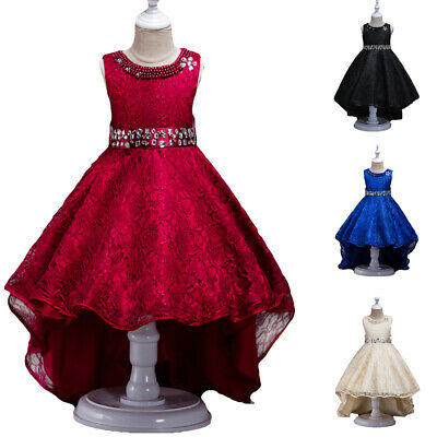 Kids Princess Bridesmaid Girls Dress Lace High Low Party Pageant Formal Dresses • 18.99£