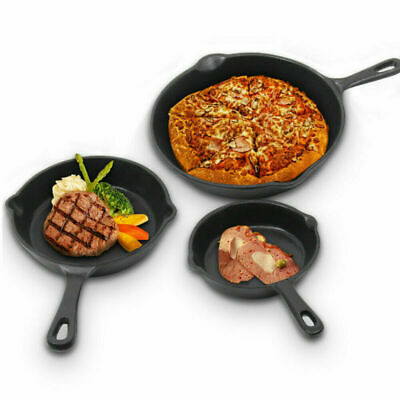 £15.99 • Buy 3X New Stick Frying Griddle Pan Set Cast Iron Barbecue Grill Fry Bbq Skillet