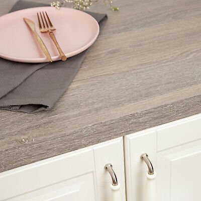 £15 • Buy Silver Oak Wood Effect Laminate Kitchen Worktops 38mm Thick, Square Edged