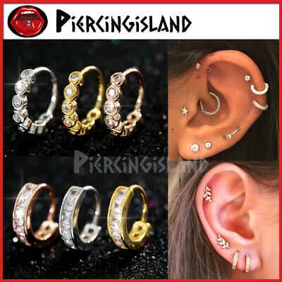 AU7.74 • Buy Silver Gold Ear Nose Cartilage Septum Crystals Ring Piercing Small Hoop Earrings