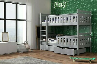 Kids Children Wooden Pine Bunk Bed TEZO With Storage Drawers In Grey 190/90 • 409£