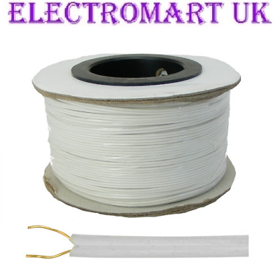 Bell Wire Flat 2 Solid Core Flexible Doorbell Intercom Phone Cable 100m Drum • 14.90£