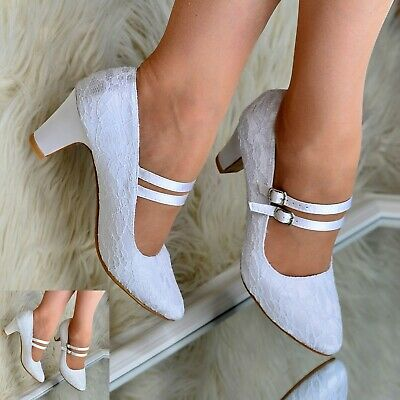 Womens Mary Jane Bridal Shoes Lace Wedding Low Mid Block Heel Full Toe Pumps • 22.95£