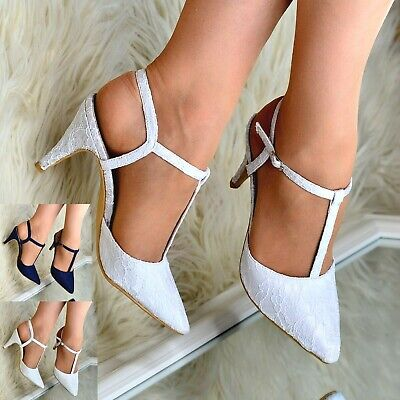 Womens Lace Pointed Toe High Heel Shoes Slingback T Bar Sandals Wedding Bridal • 18.95£