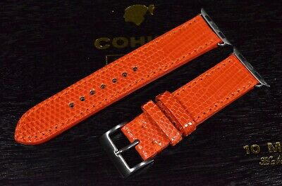 $ CDN122.47 • Buy Ma Watch Strap Genuine Lizard Skin Orange Handmade Band For Apple Watch Iwatch