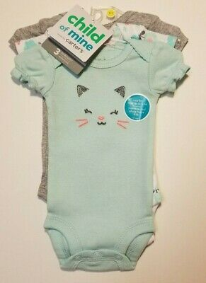 43a520eb9d716 Child Of Mine By Carters Short Sleeve Bodysuits 3 Pack Girls Preemie NB 0-3