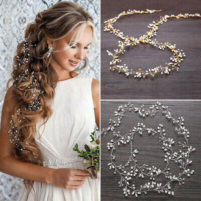 $ CDN15.60 • Buy Wedding Hair Vine Crystal Pearl Headband Bridal Accessories Alloy Long Chain Hot
