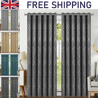£40.99 • Buy Pair Of Thermal Insulated Blackout Curtains Ready Made Eyelet Ring Top Curtain