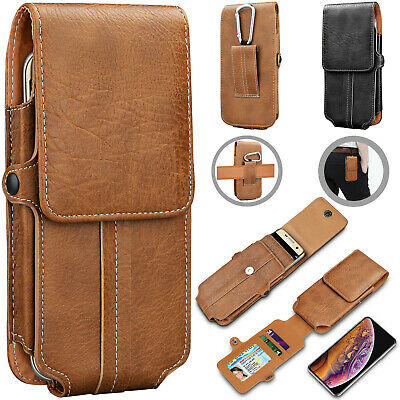 AU12.90 • Buy Vertical Leather Cell Phone Pouch Card Holder Case With Belt Clip Holster Wallet