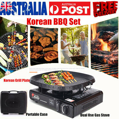 AU71.99 • Buy 2 In1 Portable Gas Stove With Korean Grill Pan Plate BBQ Outdoor Camping Cooking