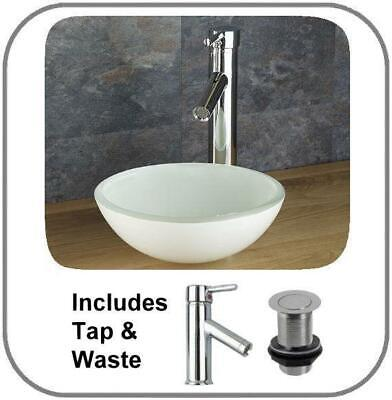 £149 • Buy Round Countertop Sink White Glass Basin Bathroom Cloakroom 420mm + Tap + Waste