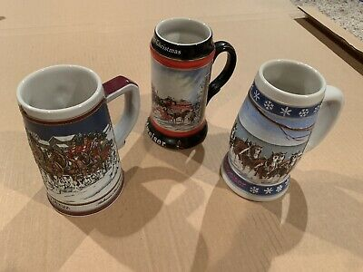 $ CDN24.98 • Buy Budweiser Beer Steins By Cermarte Made In Brazil - Lot Of 3 Collectible Mugs