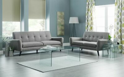 New Modern Set Of 3 Bent Glass Nest Of Side Tables Curved Tempered Clear Glass • 179.99£
