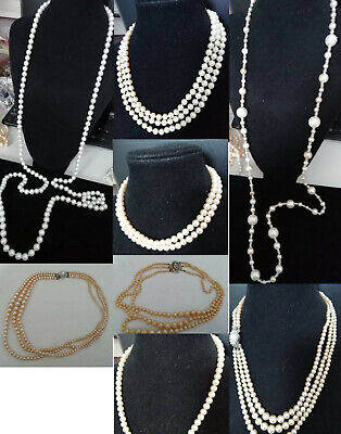 $ CDN24.01 • Buy Vintage Costume Pearl Necklaces - Lots To Choose From