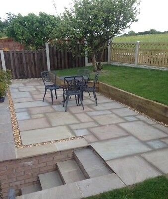 15m2 PATIO Pack Indian Sand Stone Paving RAJ GREEN Slabs 25mm - 35mm Hand Cut • 270£