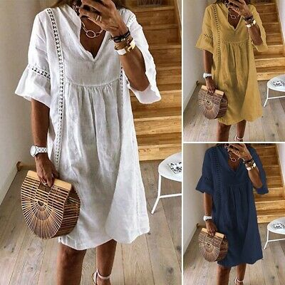 AU17.47 • Buy ZANZEA Women Cotton Sundress Gown Beach Club Party Sexy Loose Baggy Lace Dress