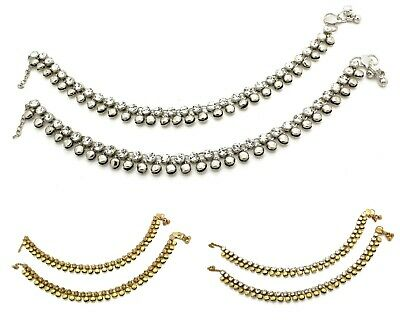 £7.99 • Buy Antique Gold Silver Ankle Chain Anklet Indian Payal Foot Chain With Bells (gsa)