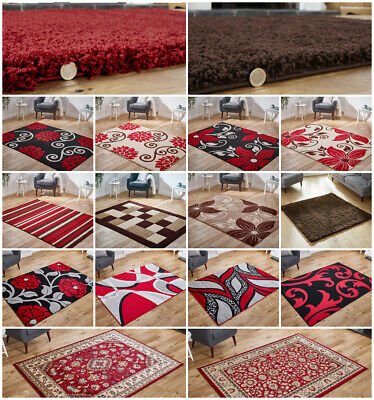 Modern Small Large Runner Circle Shaggy Carved Floral Traditional Brown Red Rug • 44.99£