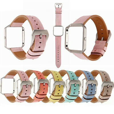 AU18.99 • Buy Replacement Genuine Leather Wrist Watch Strap Band+Metal Frame For Fitbit Blaze