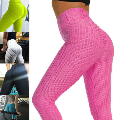 AU15.45 • Buy Women's Ruching Push Up Leggings Yoga Pants Anti Cellulite Sport Scrunch Apparel