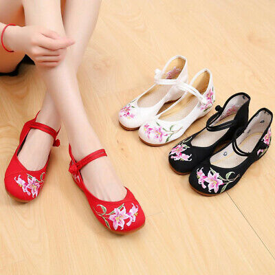£11 • Buy Casual Dance Chinese Old Peking Women Embroidered Flowers Round Toe Cloth Shoes