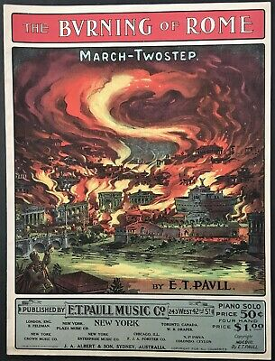$8.99 • Buy 1903 E.t. Paull  The Burning Of Rome  Art Cover Sheet Music - Small Format