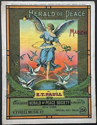 $17.99 • Buy 1914 E.t. Paull  Herald Of Peace March  Art Cover Sheet Music - Large Format