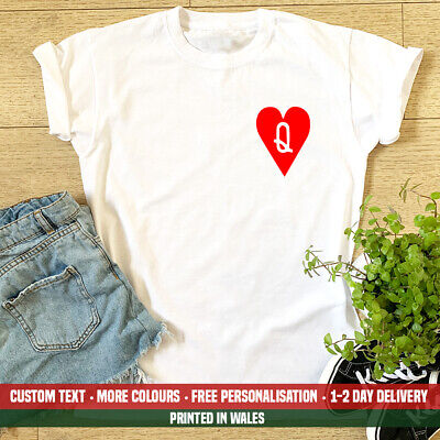 Ladies Queen Of Hearts POCKET T-shirt Poker Cards Love Playing Card Wife Top • 10.99£
